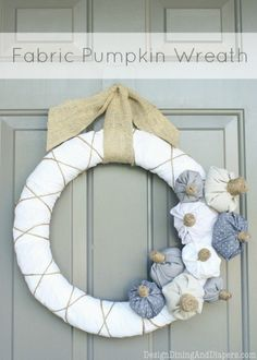 Fabric Pumpkin Wreath by Design, Dining + Diapers