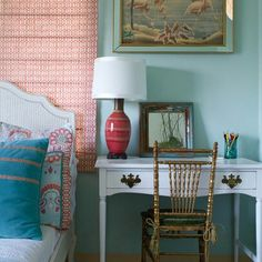 Aqua gold orange pink room