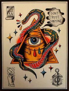 Dont Trust Anyone Tattoo Flash | KYSA #ink #design #tattoo