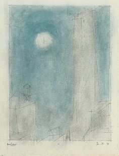 lyonel feininger.  manhattan I- 1937, watercolor and pen and ink on paper.