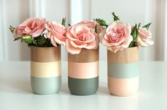 Set of 3 Painted Wooden Vases Home Decor