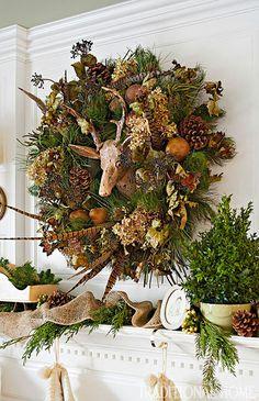 Traditional Home. holiday wreaths, fun wreath, holidays, natur wreath, rustic wreath