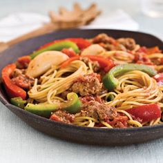 sausages, peppers, pasta recip, spaghetti, main dish, food, pasta dinners, dinner recipes, southern live
