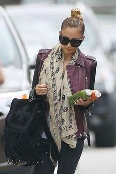Nicole Richie moto jacket & scarf