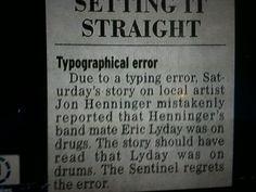 The Christian rocker was on *drums* -- not drugs. The story: http://jimromenesko.com/2012/01/20/friday-fun/