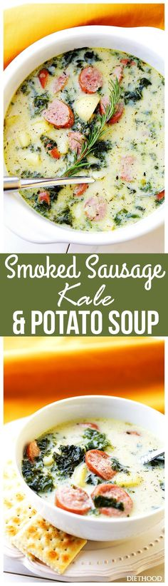 Smoked Sausage, Kale and Potato Soup - Diethood - This wonderful, hearty, delicious soup is loaded with smoked sausage, kale and potatoes, and is done in just 30 minutes.