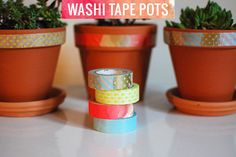 washi tape pots diy