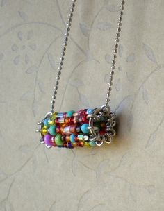 bead necklac, idea, craft, bead bead, pendant, beads, safety pins, beaded necklaces diy, jewelri