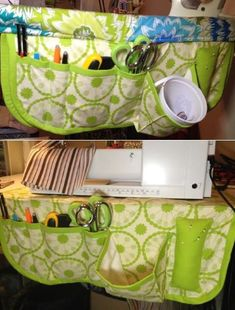 Sewing Caddy and 9 Other Sewing Projects from Craftsy.  This could be made to as part of an ironing board cover to keep all your tools handy while you're pressing.