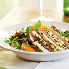 Arugula Salad with Chicken and Apricots | MyRecipes.com #myplate #protein #vegetable