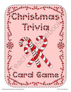 Christmas Trivia Card Game from Ann Dickerson on TeachersNotebook.com (19 pages)  - Christmas Trivia Card Game: This is a colorful Christmas trivia card game for 2-8 players. Questions revolve around Christmas carols, stories, traditions, and seasonal shows. Fun for all ages with questions ranging from easy to difficult.