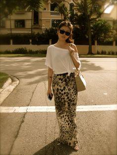 White top x River Island leopard print skirt x Beige Lady Dior x Dior Mitzah sunglasses