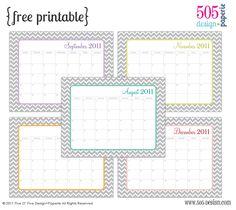 calendar ~ Cute, free printables!!