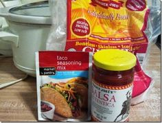 crock pot + frozen chicken + taco seasoning + salsa