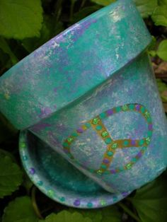 Peace Sign Flower Pot in Aqua and Purple by happymoosegardenart for $7.50 #zibbet