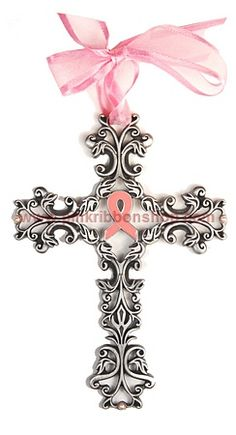 Pink Ribbon Cross For Breast Cancer Awareness