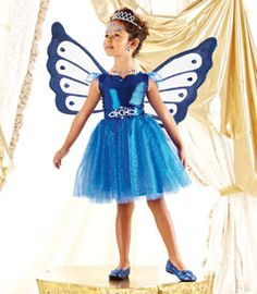 sapphire fairy girls costume - Only at Chasing Fireflies - Everyone's captivated by this sparkly, one-of-a-kind sapphire pixie. Her iridescent lamé and glittering tulle-skirted dress is embellished with a dramatic ornament at the waist.
