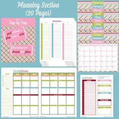 Complete set of 43 fun, cute planning printables including daily planner, weekly planner, meal planning, goal tracking, bill tracking, etc.
