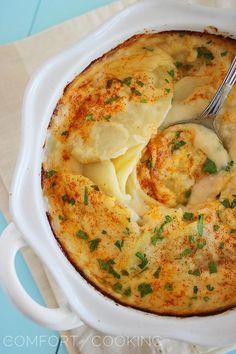 Cheesy Scalloped Potato Gratin http://www.thecomfortofcooking.com/2013/10/cheesy-scalloped-potato-gratin.html