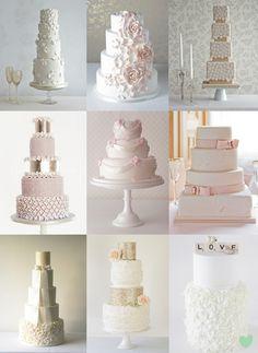 Pretty, Neutral Wedding Cakes Mood Board