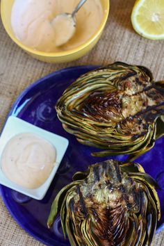 Grilled Artichokes with Spicy Lemon Aioli from Eat Live Run