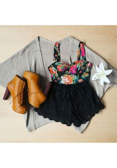 awesom outfit, color bustier, shoe