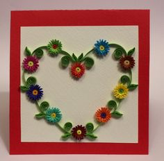 Valentine's day handmade quilling card. $7.00, via Etsy.