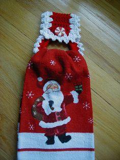 Christmas Crochet Towel Holder with towel by longvalleybears, $5.00