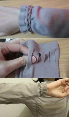 "Add knot detail for your long sleeves. No sew DIY. Source: <a href=""http://crafting-dreams.blogspot.sg/2012/01/t-shirt-braiding-diy.html"" rel=""nofollow"" target=""_blank"">crafting-dreams.b...</a>"
