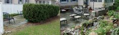 Outdoor Room with Slate Patio by Acorn Landscaping of Rochester NY 585-442-6373