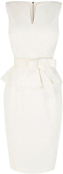 Karen Millen Signature Cotton Peplum Dress (white) Fashion www.finditforweddings.com