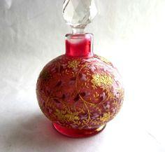 Antique Bohemian Cranberry Glass Perfume Bottle Raised Enamel Gilt Moser | eBay