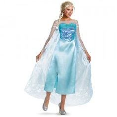 The Disney Frozen Elsa Adult Costume comes with a sparkly blue dress with sheer overlay that mimics what Elsa wore in the movie Frozen.