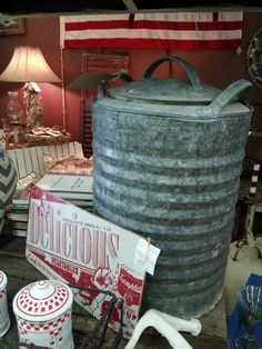 Vintage igloo water cooler. Great for a lamp.