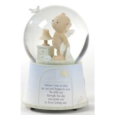 "Glitterdome Angel Bear, $34.95. ""Before I run to play, let me not forget to pray. Be with me through the day, and guide me in Your loving way."" Perfect for a nursery or a child's room."