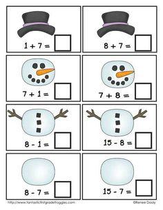 Winter Math Center Fun- build a snowman fact families $