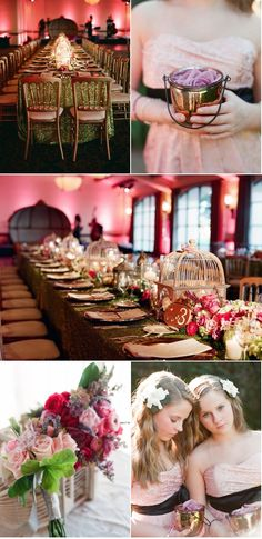 LOVE the tablescapes! ! #table #wedding #party #flowers #gold #pink
