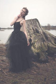 Goth Gothic Black full length Black Satin Rose Tutu by hhfashions, $95.00