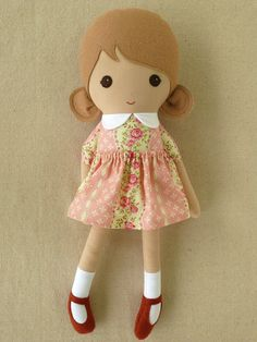 Fabric Doll Rag Doll Girl in Pink Floral Dress