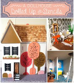 Stenciled and painted DIY kids dollhouse with fun pattern and custom design