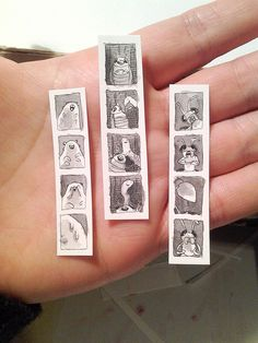 Teeny tiny insect photobooth strips by Laura Park.