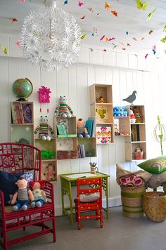 idea, kids room butterflies, kid playroom, color, ceiling decor, happy kids, kid rooms, shelv, girl rooms