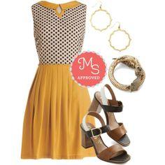 Curious Columnist Dress, Ready to Mingle Heel, Twist of Glitz New Heirloom Bracelet, Committed Curator Earrings    #mustardyellow #opentoed #statementbracelet