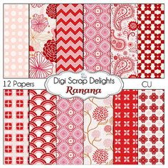 Digital Scrapbooking Ranana Digital Scrapbook by DigiScrapDelights, #Red #Pink