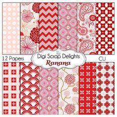 Digital Scrapbooking Ranana Digital Scrapbook by DigiScrapDelights, #Red #Pink