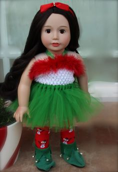 Make Your American Girl Doll an Elf this Christmas. Visit Santa and Elf Costumes for American Girl Dolls at www.harmonyclubdolls.com  We fit American Girl Dolls.