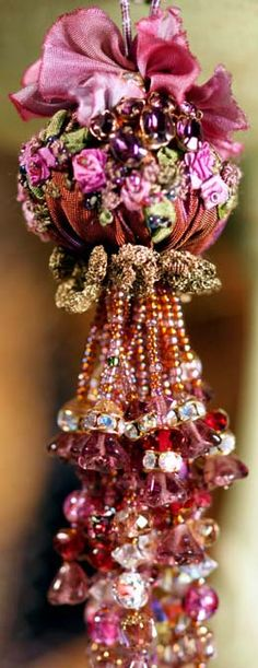 """I ❤ ribbonwork & beadwork . . . Beaded Tassel with Ribbonwork- Begin your tassel by silk ribbon embroidering rosebuds on a piece of French ribbon, which you'll stuff to make a """"berry ball"""". Then string beads like fringework for the tassel. Top it off with dimensional hand~dyed silk flowers. ~By Roxanne's Ribbonry"""