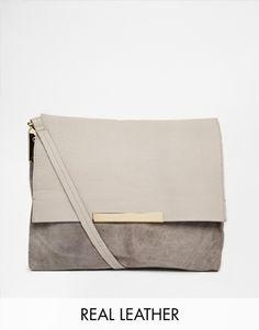 River Island Grey Foldover Slouch Leather & Suede Shoulder Bag