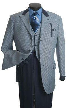 SKU#EW123 Vittorio St. Angelo Mens Blue Houndstooth Reversible Vest Fashion Suit $139 Sky Masterson