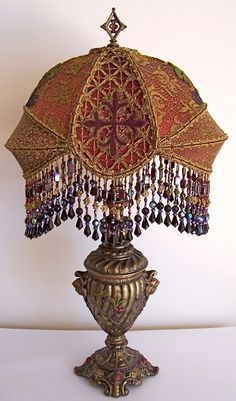 Antique Vintage Gothic Vestment Cross Beaded Table Lamp